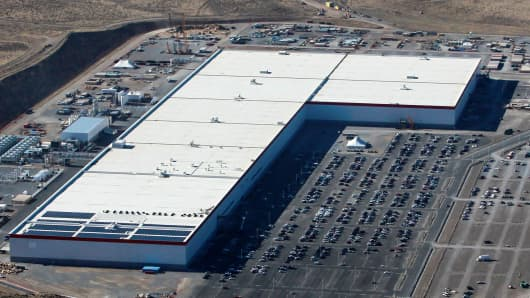 An aerial view of the Tesla Gigafactory near Sparks, Nevada