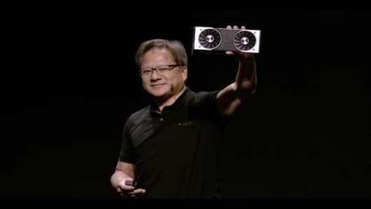 Nvidia CEO Jensen Huang announces the GTX RTX 20-series of graphics cards at the Gamescom conference in Cologne, Germany, on Aug. 20, 2018.