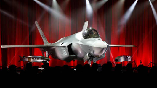 An F-35 fighter jet is seen as Turkey takes delivery of its first F-35 fighter jet with a ceremony in Forth Worth, Texas, USA on June 21, 2018.