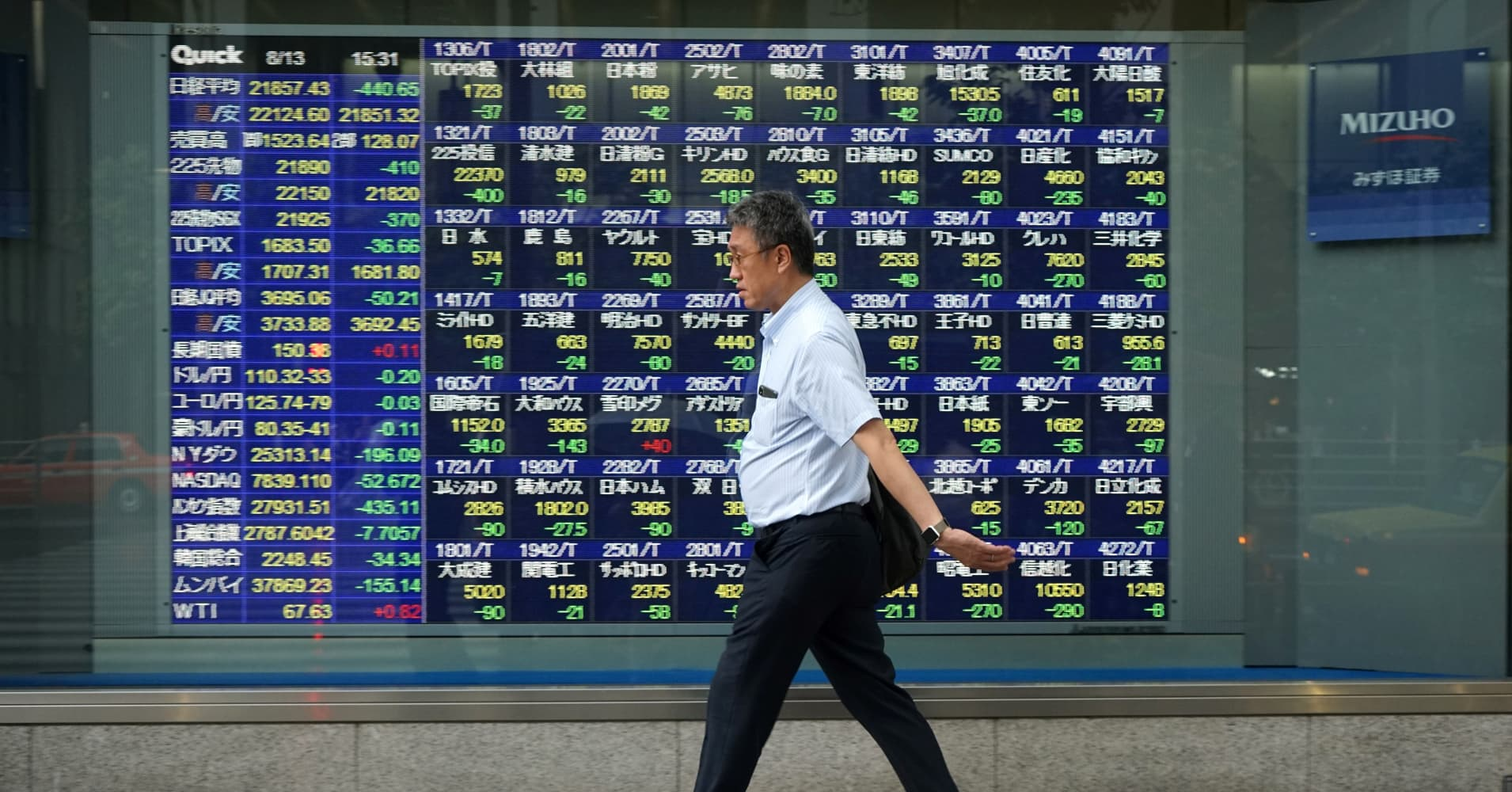 Shares in Japan tumble as investors worry about the global economy
