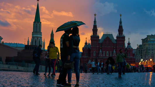 City view on Red Square with GUM Shopping Mall, Kremlin, Saint Basil's Cathedral and State Historical Museum on July 8, 2018 in Moscow, Russia.