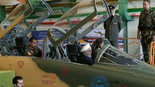 "Iranian president Hassan Rouhani sits in a ""Kowsar"" jet on Aug. 21, 2018. Military analysts argue the jet is in fact a Northrop two-seater F5-F."
