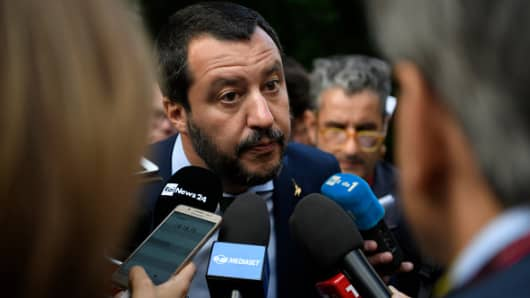 Italian Interior Minister Matteo Salvini speaks during a statement after a bilateral meeting prior to the European Union member states' interior and justice ministers conference on July 11, 2018 in Innsbruck, Austria.