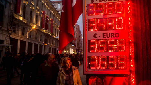 People walk past a currency-exchange board showing the U.S. dollar and euro rates against the Turkish lira in Istanbul.
