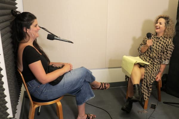 "Alicia Kennedy records ""Meatless: A Podcast About Eating"" with Cara Nicoletti."