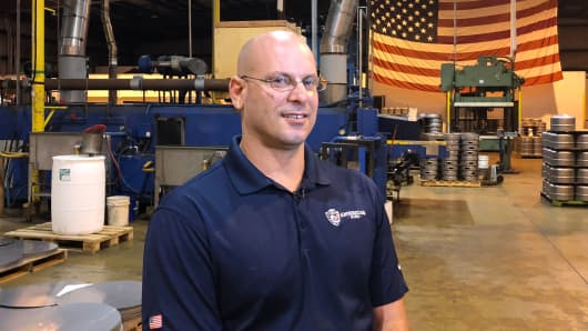 Kellby Ochs, production manager at American Keg Company, says the layoffs at the Pottstown, Pa.-based company have hit home.