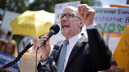 Democratic National Party Chairman Tom Perez speaks as about 300 people rally to protest against President Donald Trump's firing of Federal Bureau of Investigation Director James Comey outside the White House May 10, 2017 in Washington, DC.