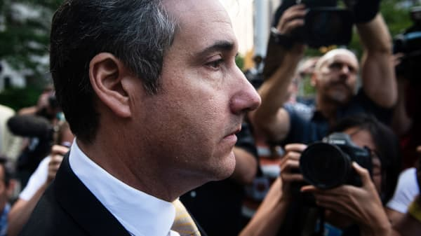Michael Cohen, former personal lawyer to President Donald Trump, exits from federal court in New York, on Tuesday, Aug. 21, 2018.