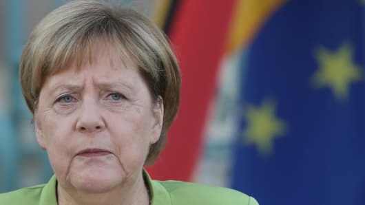GRANSEE, GERMANY - AUGUST 18: German Chancellor Angela Merkel speeches during her meeting with Russian President Vladimir Putin (not pictured)  at Meseberg governmental house August 18, 2018 in Gransee, Germany.