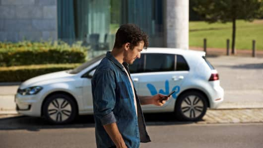 A promotional still of Volkswagen's e-mobility car share service, set to begin in 2019.