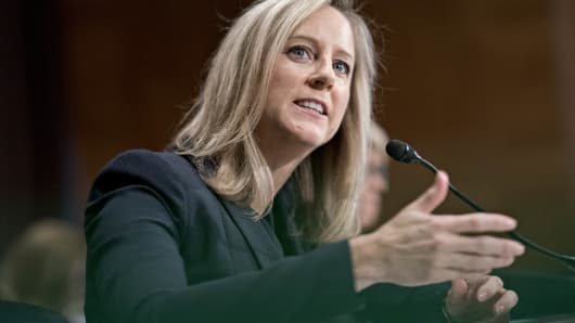 Kathy Kraninger, director of the Consumer Financial Protection Bureau (CFPB) nominee for U.S. President Donald Trump, speaks during a Senate Banking Committee confirmation hearing in Washington, D.C., July 19, 2018.