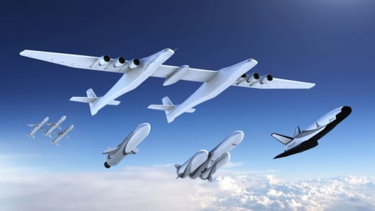 The family of launch vehicles Stratolaunch announced on Aug. 20, 2018, as it prepares the massive airplane for its first flight.