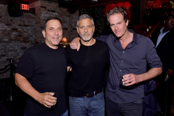 Mike Meldman, George Clooney and Rande Gerber at the Casamigos House of Friends Dinner on June 8, 2018 in Hollywood, California.