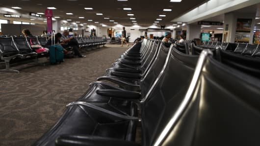 A lounge in Daniel K. Inouye International Airport sits mostly empty as Hurricane Lane approaches the island chain on August 22, 2018 in Honolulu, Hawaii.
