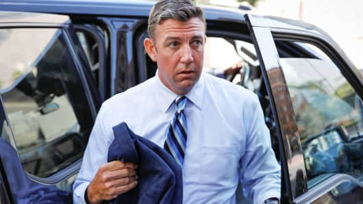 Rep. Duncan Hunter (R-CA) arrives for his arraignment at federal court in San Diego, California, August 23, 2018.