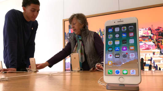 An iPhone is displayed at an Apple Store on February 1, 2018 in Corte Madera, California.
