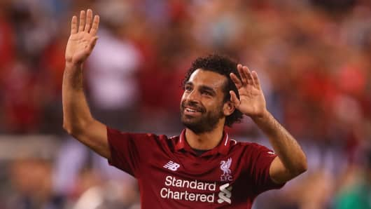 Mohamed Salah of Liverpool during the International Champions Cup 2018 match between Manchester City and Liverpool at MetLife Stadium on July 25, 2018 in East Rutherford, New Jersey.
