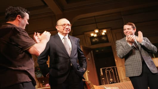 Playwright Neil Simon (C) walks out for curtain call with actors Nathan Lane and Matthew Broderick at the opening night of 'The Odd Couple' at the Brooks Atkinson Theater October 27, 2005 in New York City.