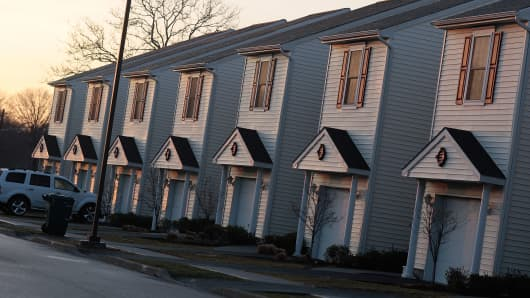 Row houses for military living on base, at Fort Hamilton, Brooklyn, New York.