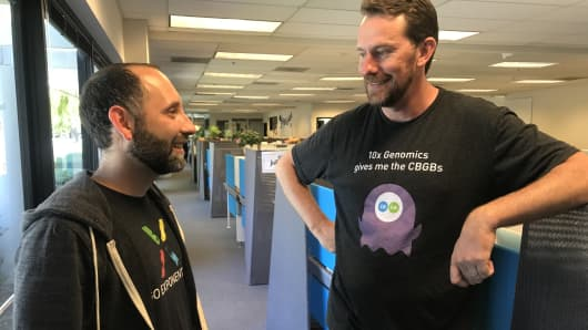 Serge Saxonov and Ben Hindson, co-founders of 10x Genomics
