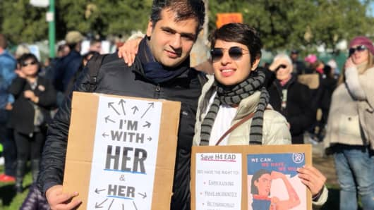 Shilpa Sachdev and her husband at a demonstration to support work authorization for H4 visa holders.