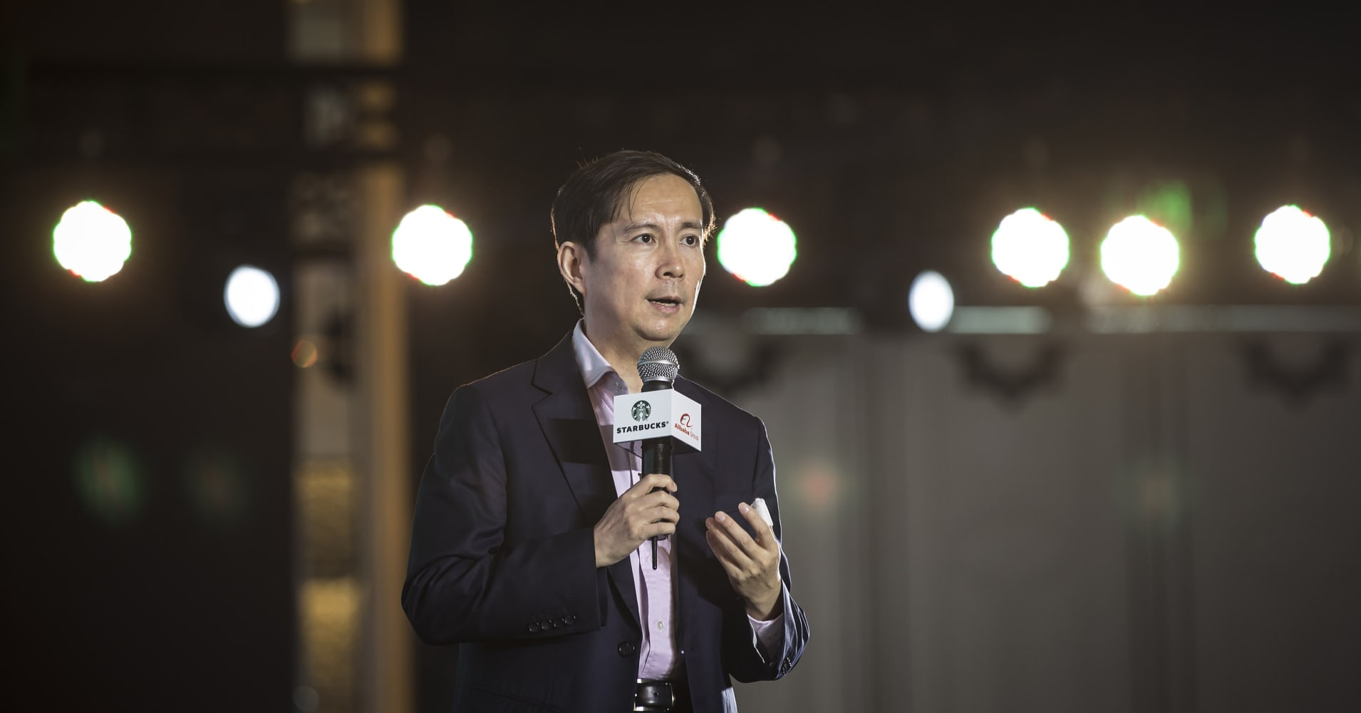 Daniel Zhang, chief executive officer of Alibaba Group Holding Ltd., speaks during a news conference in Shanghai, China.