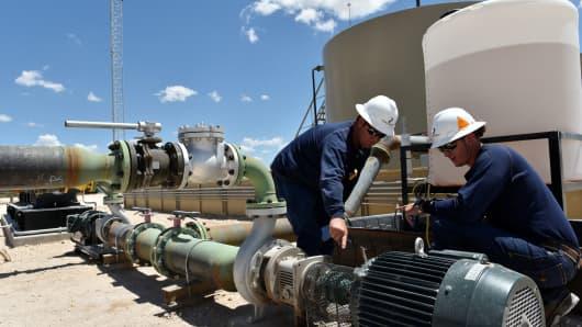 Oil operations in the Permian Basin near Midland, Texas