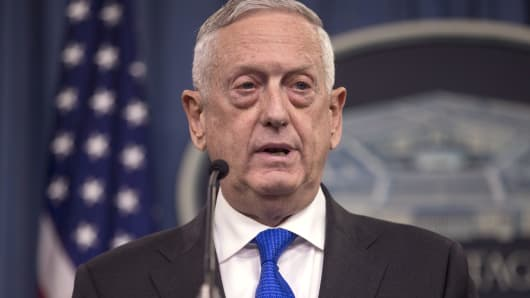 Secretary of Defense James Mattis speaks during a press briefing at the Pentagon August 28, 2018 in Arlington, Virginia.