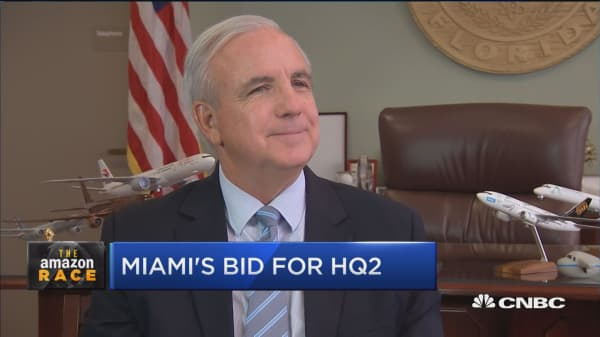 Miami bids for Amazon's second headquarters to try to make the city a center for tech, mayor says