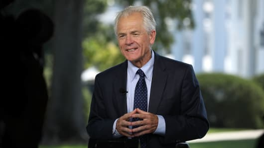 Director of the White House National Trade Council Director Peter Navarro is interviewed outside the White House August 28, 2018 in Washington, DC.