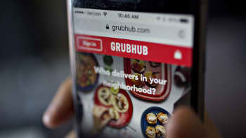 The GrubHub website on an iPhone.