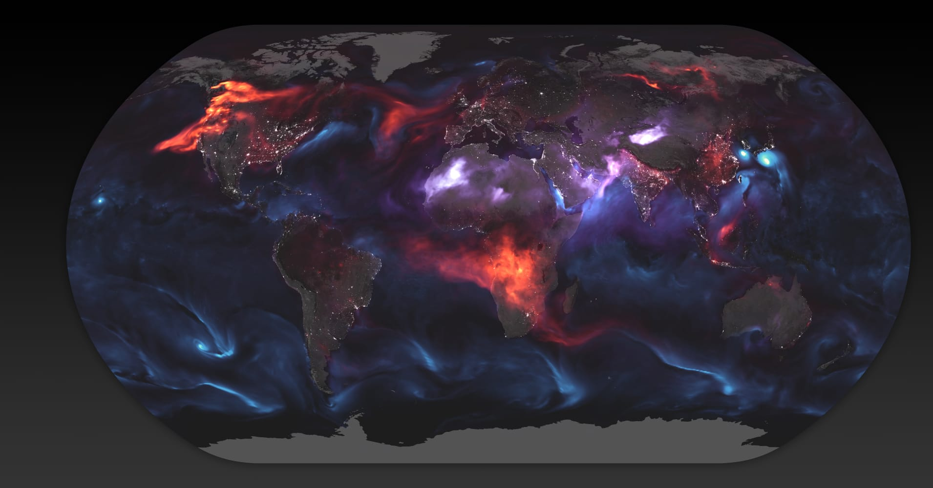A visualization of the particles and droplets in the air from the NASA Earth Observatory.