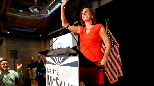 U.S. senatorial candidate and U.S. Rep. Martha McSally, R-Ariz., celebrates her primary election victory, Tuesday, Aug. 28, 2018, in Tempe, Ariz.