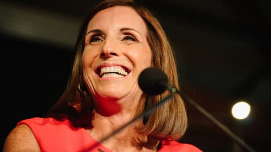 Martha McSally, Republican U.S. Senate candidate from Arizona, speaks during an election night rally in Tempe, Arizona, on Tuesday, Aug. 27, 2018.
