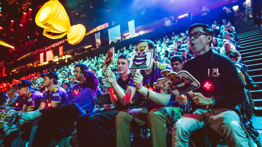 Audience members watch the 2017 Crown Championship esports finals in London.