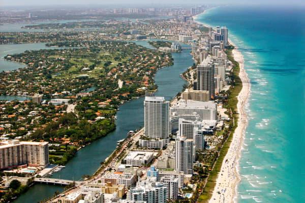 Miami Beach Coast, Florida (Photo by Hoberman Collection/UIG via Getty Images)
