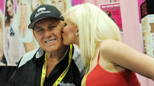 EDISON, NJ - NOVEMBER 13:  Dennis Hof owner of the 'Moonlite Bunny Ranch' and Taylor Lee attend Exxotica Day 1  at New Jersey Convention and Exposition Center on November 13, 2015 in Edison, New Jersey.