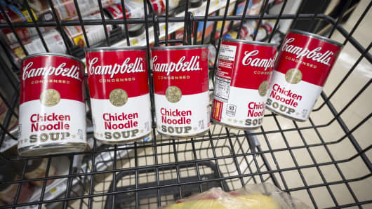 Cans of Campbell's Chicken Noodle Soup are seen in a supermarket in New York.