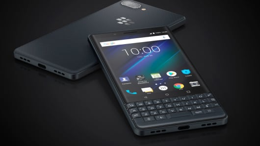 The BlackBerry KEY2 LE smartphone on display. Chinese firm TCL Communication make the BlackBerry phone.