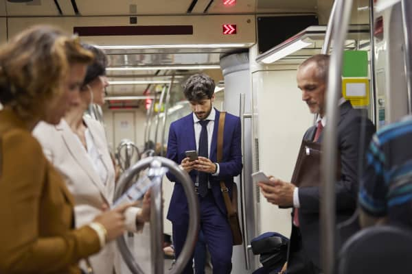 Japanese commuters on the Tokyo subway