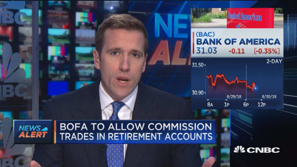 Bank of America to allow commission trades in retirement accounts