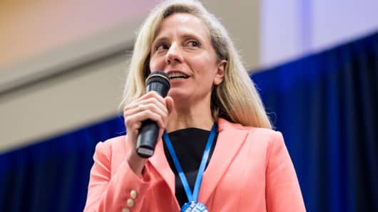 Abigail Spanberger, Democratic candidate for the 7th congressional district of Virginia, speaks during the Women's Summit in Herndon, Va., on Saturday June 23, 2018.