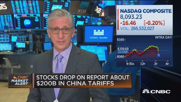 Stocks drop on report about $200 billion in China tariffs
