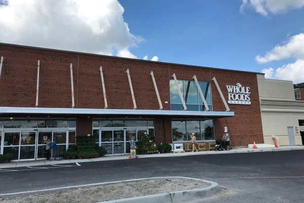 The entrance to Whole Foods in Edgewater, New Jersey.