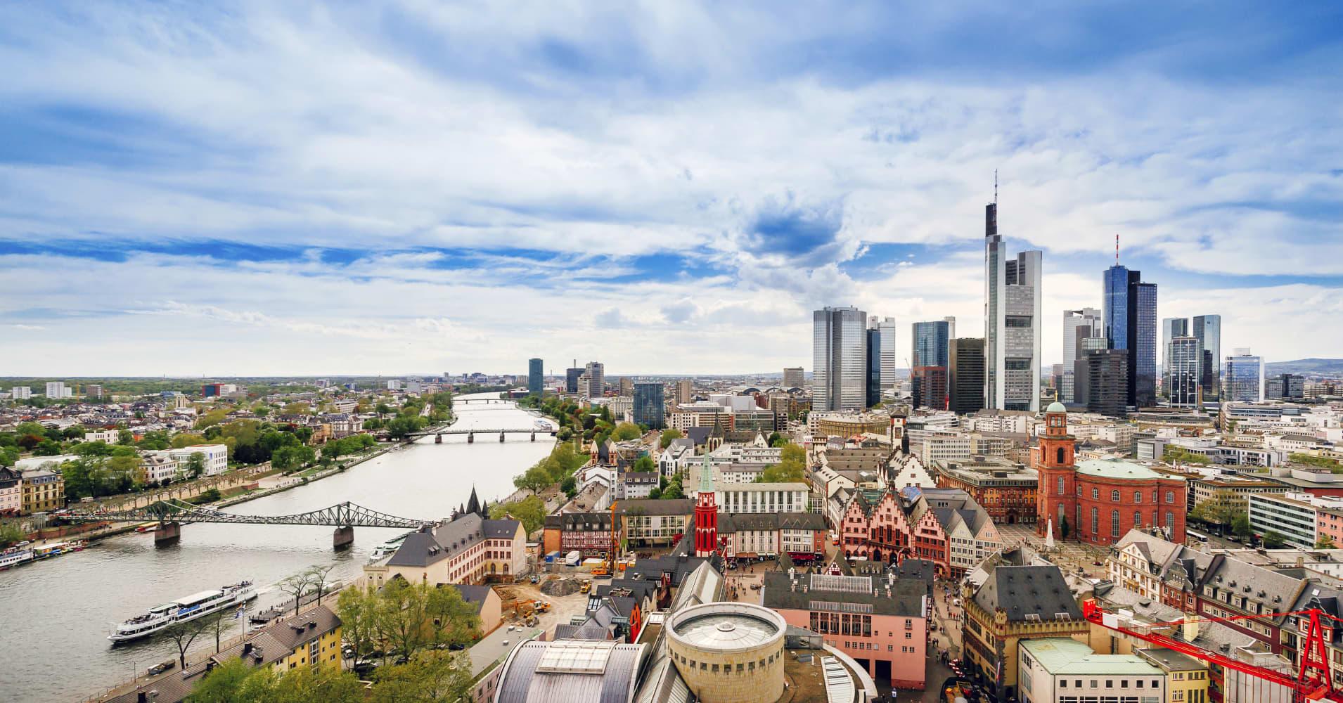Frankfurt skyline and Romerberg City Hall Square in the German city of Frankfurt.