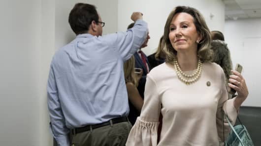 Rep. Barbara Comstock, R-Va., leaves the House Republican Conference meeting in the Capitol on Wednesday, June 6, 2018.