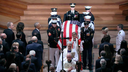 The casket is pictured leaving the memorial service of U.S. Senator John McCain (R-AZ) at National Cathedral in Washington, U.S., September 1, 2018.