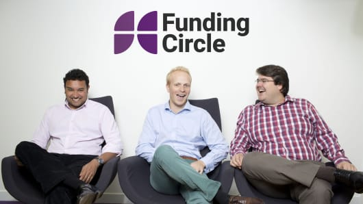 Funding Circle founders from left to right: Samir Desai, James Meekings and Andrew Mullinger.