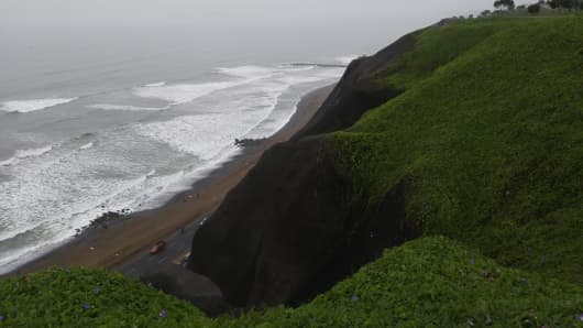 View of Miraflores Beach in Lima, Peru.
