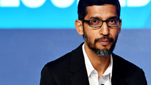Sundar Pichai, chief executive officer of Google Inc., attends a news conference in New Delhi, India, on Wednesday, Jan. 4, 2017.